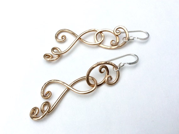 Bronze forged link ivy tendril earrings