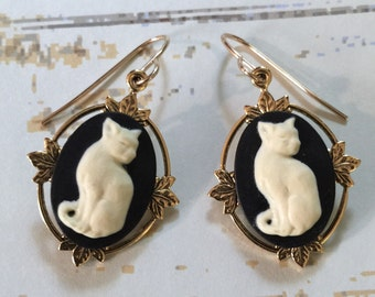 Cameo Cat Earrings Black and Creme Gold Filled Earwires