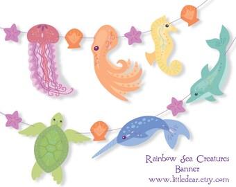Printable Sea Creature Rainbow Banner PDF Scrapbooking Party Decorations