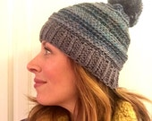 Ombre ribbed beanie shades of teal and blue and mocha optional pom pom