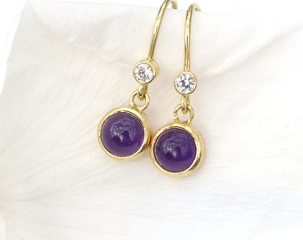 Amethyst and White Sapphire Earrings in 18k Gold - In Stock - Eco Friendly