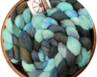 Camelot - hand-dyed Merino wool and silk (4 oz.) painted combed top