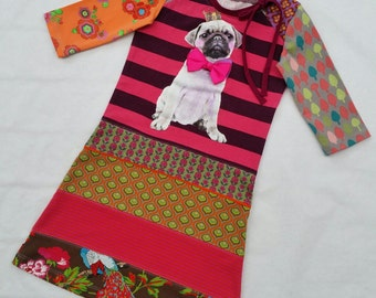 Size 5T (43 3/4 inch height) upcycled girls dress Pug