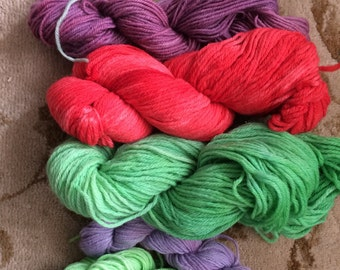 11 ounces Hand Dyed Wool Tapestry Yarn-Reds, Greens, Purples and Gray-Rug Making, Crewel, weaving, knitting, crochet