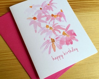 Pink Coneflowers Birthday Card - Watercolor Coneflowers Card - Floral Birthday Card - Watercolor Birthday Card