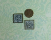 Dollhouse Miniature Pair of Blue & White Floral Trivets
