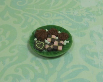 Dollhouse Miniature Green Porcelain Plate of Sweets - A