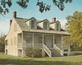 Vintage 1970s Postcard Thibodaux Louisiana Judge White Plantation Mansion Memorial Architecture Building Photochrome Era Postally Unused