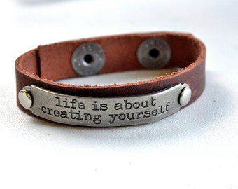 Leather Bracelet with Saying Inspirational Words
