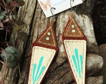 Geometric Painted Leather Drop Earrings