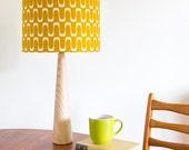 Mustard Barkcloth Wooden Table Lamp