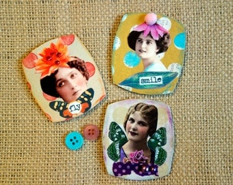 Girls Ladies Vintage Flowers Whimsical Magnets Refrigerator Magnets Office Magnets Locker Magnets Mixed Media Original Collage Altered Art