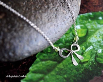 BOW all sterling silver and peridot necklace clasp and length choice by srgoddess