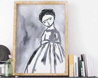 Frida in black and white - Original mixed media painting by Danita, frameable wall art prints and ready to hang wood blocks.