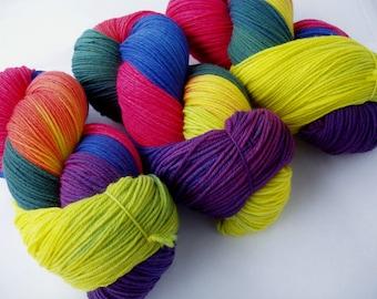 Hand dyed merino sock yarn, extra soft, superwash merino yarn, merino nylon yarn, hand painted merino yarn, rainbow, Kindertraum,  440yds