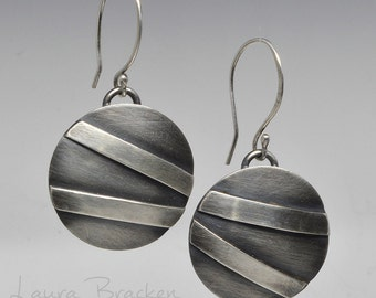 Abstract Domed Sterling Silver Earrings