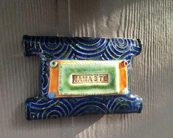 Handmade ceramic sign - Namaste