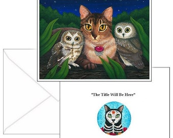 Abyssinian Cat Saw Whet Owls Cards Cat Painting Fantasy Cat Art 2 Note Cards Set Cat Lovers Gift