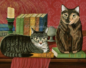 Library Cats Art Cat Painting Tabby Cat Tortoiseshell Cat Books Literary Cat Art Limited Edition Canvas Print 11x14 Art For Cat Lover