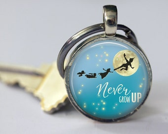 Never Grow Up - Peter Pan Quote Pendant, Necklace or Key Chain