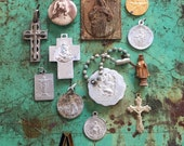 12pcs VINTAGE RELIGIOUS LOT Mixed Medals Pocket Statues Devotions Set A