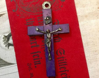 LISIEUX SOUVENIR CRUCIFIX Celluloid Vintage Religious France Deep Violet