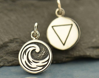 Four Elements Charms - Sterling Silver round disc charms - Earth Water Air Fire - double sided with symbol - one charm