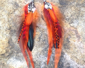 Red Feather Earrings- READY MADE