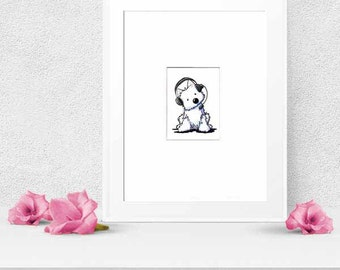 Westie Terrier Dog Original Art Call Center Operator ACEO