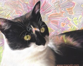 custom cat portrait, modern cat art, memorial portrait, digital pet painting, lifelike portrait, from photo, realistic pet, hand painted