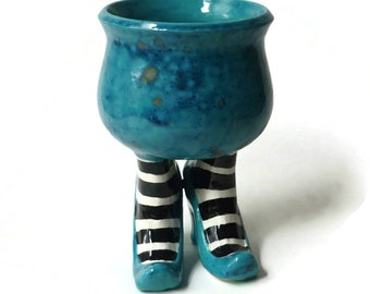 Ceramic Sex Pot with Heels and Striped Stockings Turquoise Black White