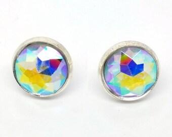 Statement Earrings - Rainbow Faceted Earrings