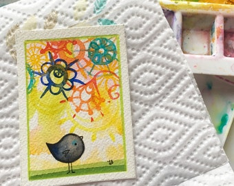In a Round About Way original ACEO art painting