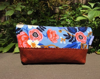 Floral Makeup Bag, Leather Pouch, Cosmetic Bag, Small Leather Pouch, Blue Make up Bag, Travel Bag, Toiletry Bag