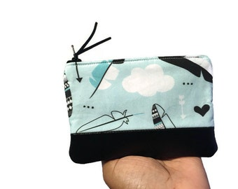 Clouds and Arrows Blue Leather Pouch, Zipper Pouch, Change Purse, Small Coin Purse, Coin Wallet