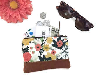 Cream Floral Leather Change Purse, Fabric Zipper Pouch, Coin Purse, Coin Wallet, Small Wallet, Floral Change Wallet, 144 Collection
