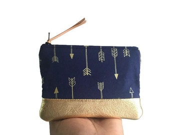 Arrows Small Gold Metallic Leather Change Wallet, Blue Zipper Pouch, Change Purse, Coin Purse, Gift for Her