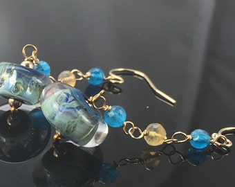 earrings- lampwork glass boro borosilicate beads - apatite - mexican fire opal - gold filled