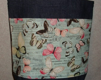 New Medium Handmade Butterfly Butterflies Garden on Pale Blue Denim Tote Bag