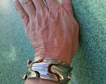 Vintage 1950s Bracelet Industrial Serpentine Chain Link 50s Chunky Bangle 20151120J149