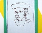 SALE Greeting Card Blank Inside Stitched Portrait Smiling Female Face Drawing with Thread