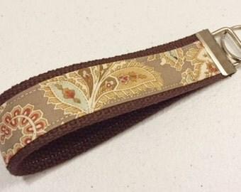 Key Fob | Ladies Key Chain | 3 Sisters Larkspur Paisley fabric