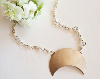 Moon with Pearls necklace