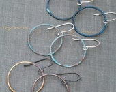 Medium Patina Hoops- verdigris, blue or antiqued brass