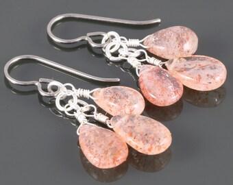 Sunstone Cluster Earrings. Three Stones. Genuine Gemstones. Titanium Ear Wires. f16e009