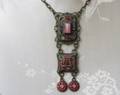 Retro Medieval Baroque Style Choker Necklace With Square Ornamented Pendant With Red Rhinestones