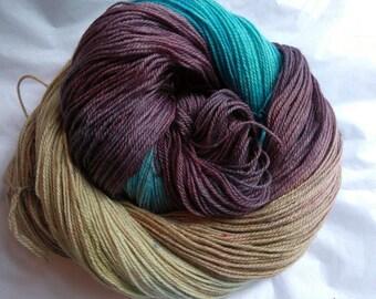 hand-dyed bfl  nylon sock yarn TROUPE
