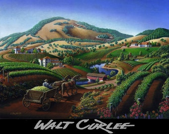 California Vineyard, Wine Country Decor, Giclee Canvas Print, Napa Valley Landscape, Grape Vineyard Landscape, Winery Folk Art Americana