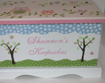 Baby Keepsake box Baby Keepsake chest memory box for girls PB Owls and birds hand painted personalized gift