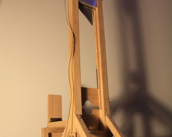 """Guillotine, 26"""" tall historically accurate miniature model handmade and unique from oak, aluminum and steel"""
